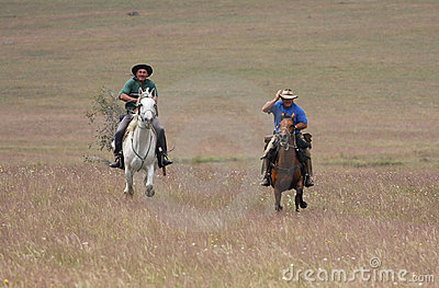 Two men riding horses at speed