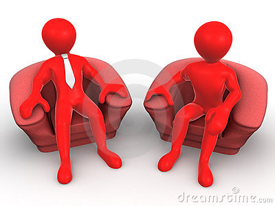 Two men is seated in a chair. Recruitment