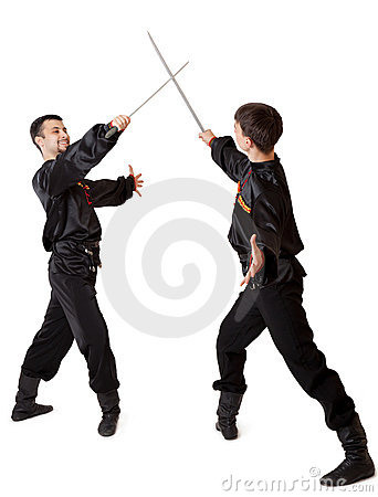 Two men with a sword
