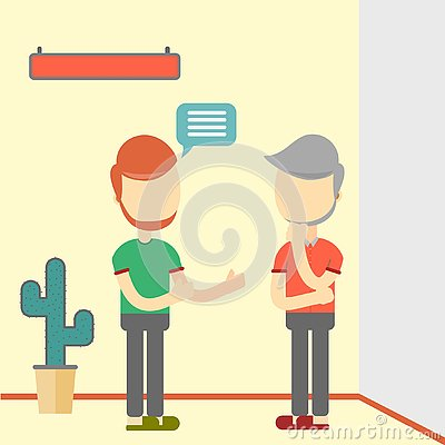 Free Two Men Talking About Business. Flat Design Royalty Free Stock Photos - 129717448