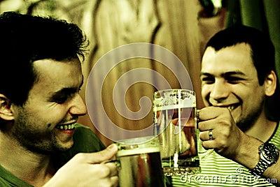 Two men toasting