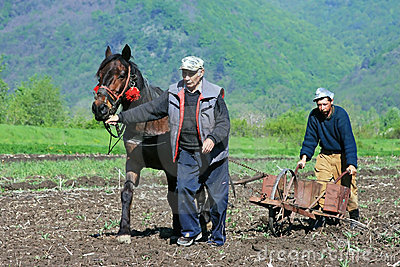Two men working the land