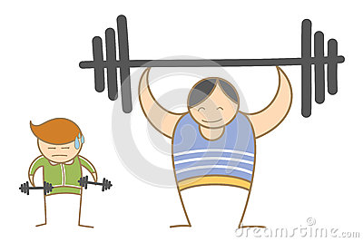Two men working out in gym