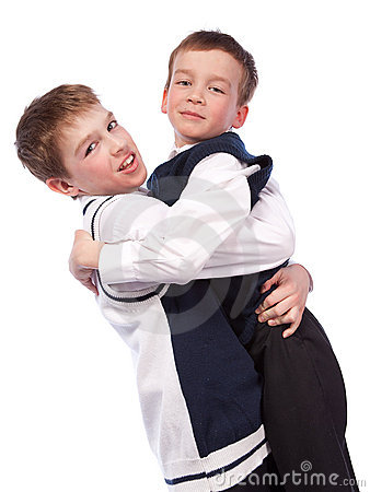 Two merry brothers hugging