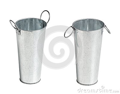 Two metal bucket
