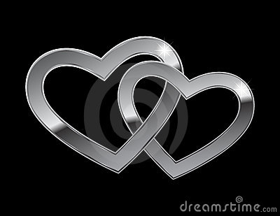 Two metal hearts