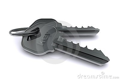Two metal key on a white background