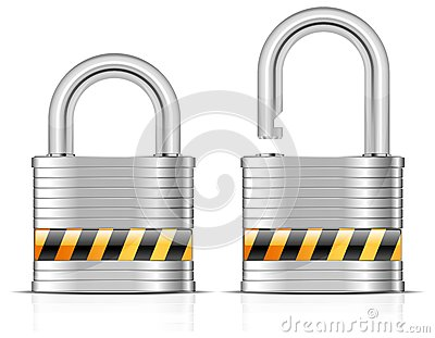 Two metal padlocks