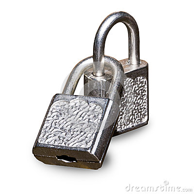 Two metal padlocks