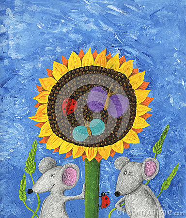 Two mice and sunflower