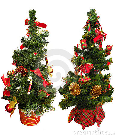 Two mini Christmas trees