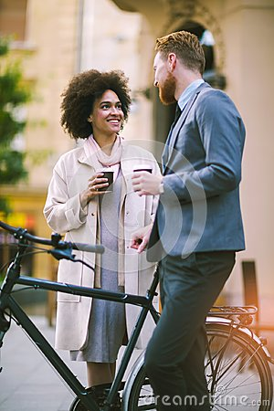 Free Two Mixed Race Business People Talking Outside Company Stock Images - 103082334