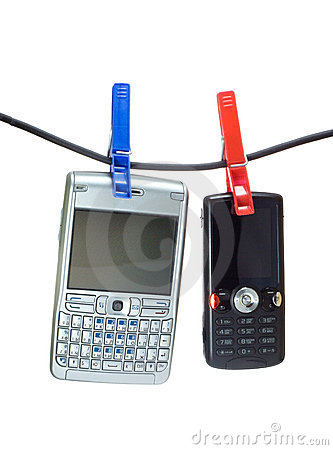 Two mobiles on a clothes line