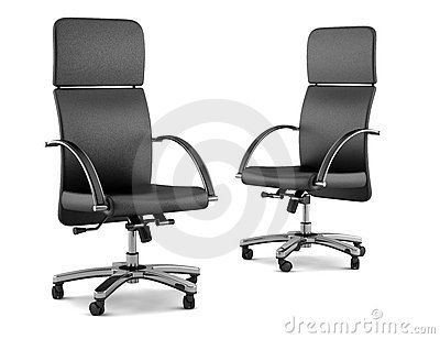 Two modern black office chairs on white