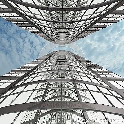 Two modern buildings (3D).
