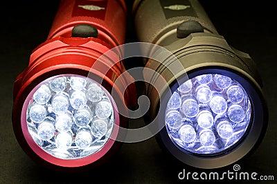 Two Modern LED Flashlights