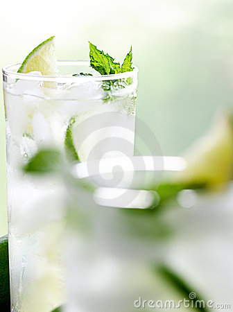 Two mojitos with selective focus