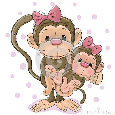 Free Two Monkeys A Mother And A Baby Daughter Stock Photos - 124285113