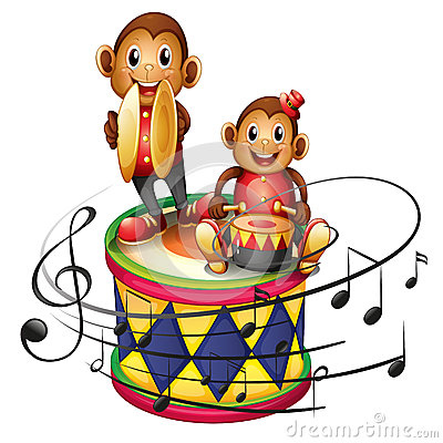 Two monkeys above a big drum