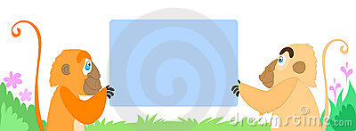 Two monkeys with an empty sign. Vector art