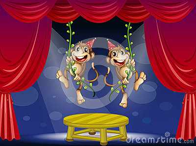 Two monkeys performing at the  stage