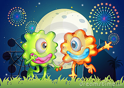 Two monsters at the carnival under the bright fullmoon