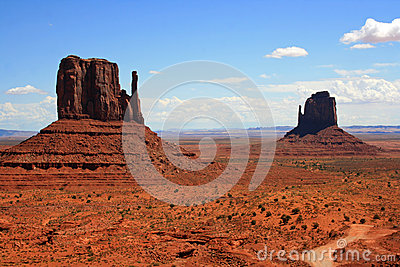 Two monuments in Monument Valley