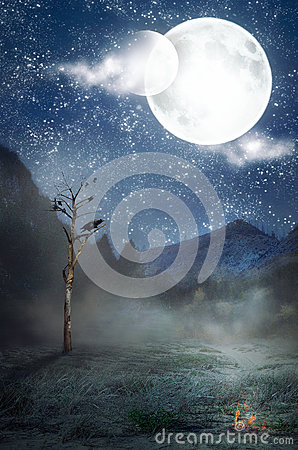 Free Two Moons Over Alone Withered Tree Royalty Free Stock Image - 94038376