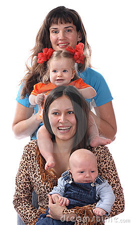 Two mothers with babies.