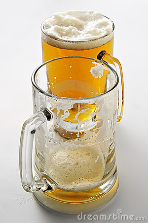 Two mugs of beer when party is over...