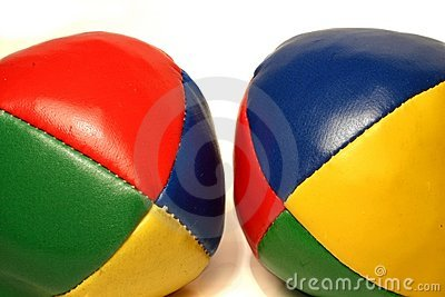 Two multicolored juggling balls