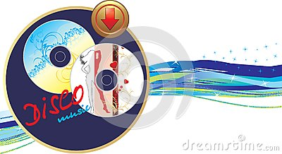 Two music disk with button. Banner