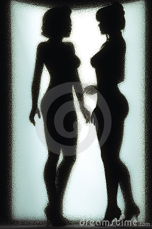 Two naked girls behind the wet glass