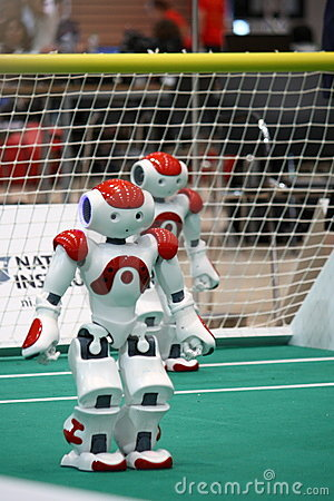 Two Nao Robots from the Robocup 2009 Editorial Photo