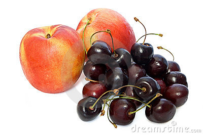 Two nectarines and cherries