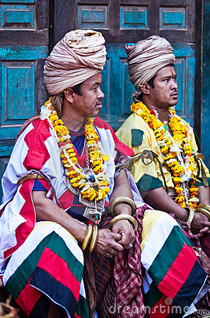 Two nevaris priests in Bhaktapur, Nepal Editorial Photo