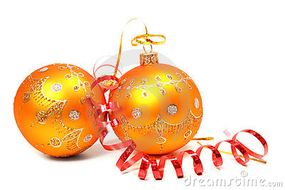 Two New Year s spheres of orange color and red tinsel