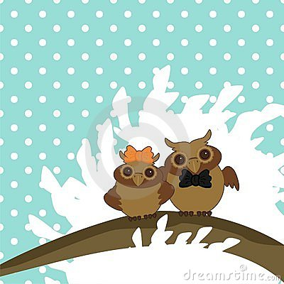 two nice owls on tree brunch