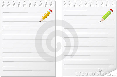 Two note pads in white paper with lines