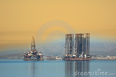 Two offshore rigs in Caspian