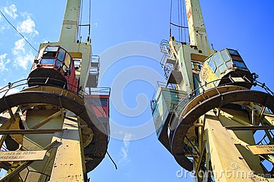 Two old cranes in the dockyard