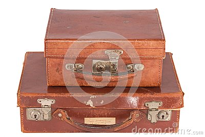 Two old fashioned leather suitcases