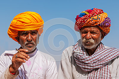 Two old Indian man with colorful turban Editorial Photo