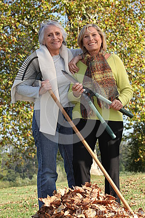Free Two Old Ladies In The Garden Stock Image - 35907071