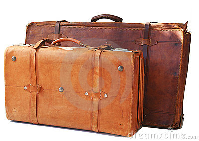 Two old leather suitcases