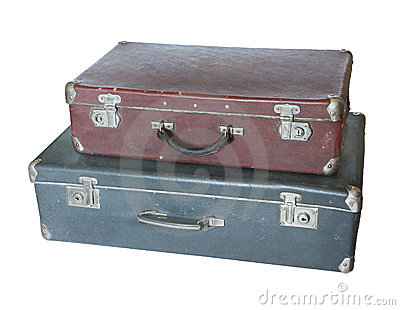 Two old suitcases.