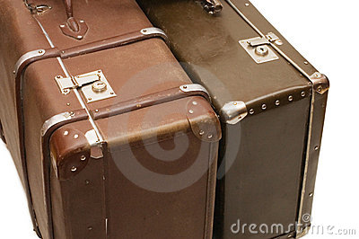 Two old suitcases isolated