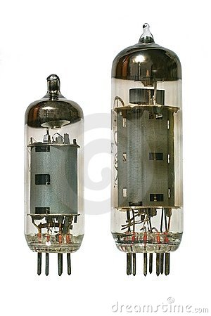 Free Two Old Vacuum Radio Tubes Front View. Stock Image - 4020451