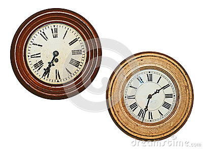 Two old wall clocks
