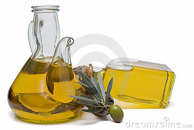 Two olive oil bottles.